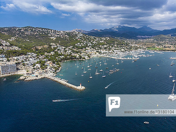 Spain  Balearic Islands  Mallorca  Andratx Region  Aerial view of Port d'Andratx  coast and natural harbour with lighthouse