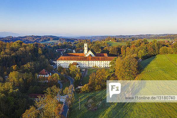 Germany  Bavaria  Upper Bavaria  Dietramszell  aerial view of a monastery  Salesian Sisters monastery