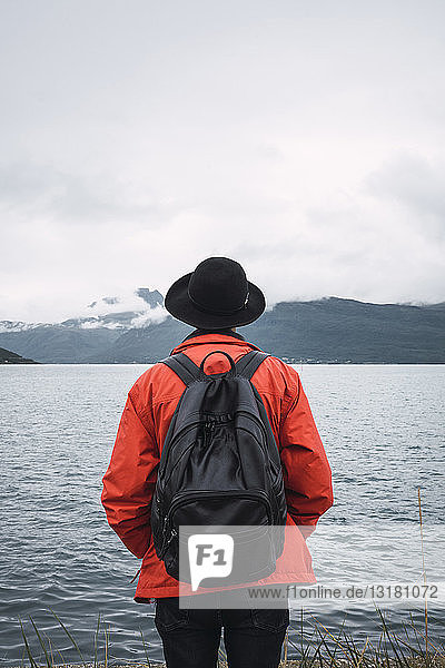 Junger Mann steht am Wasser  schaut in die Ferne  Rückansicht