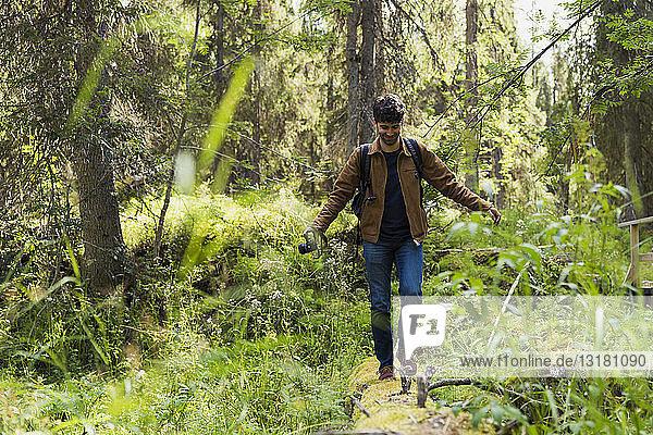 Finnland,  Lappland,  lächelnder Mann balanciert auf einem Baumstamm im Wald