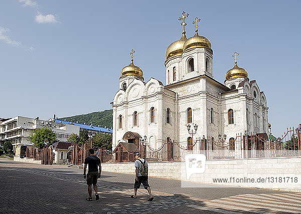 Russland  Oberes Baksan-Tal  Touristen in Pjatigorsk.