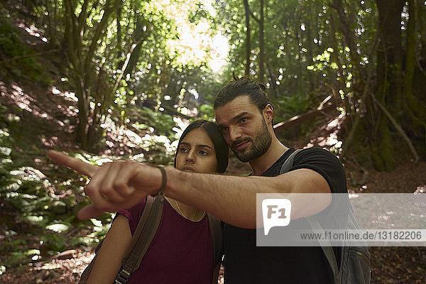 Spanien  Kanarische Inseln  La Palma  Ehepaar in einem Wald mit einem Mann  der mit dem Finger zeigt