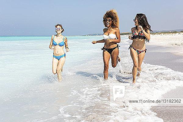 Freundinnen haben Spaß am Strand  laufen am Meer