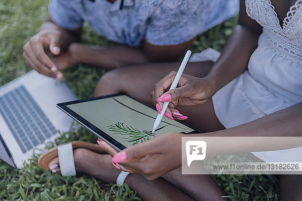 Close-up of young woman with boyfriend in a park drawing on graphics tablet