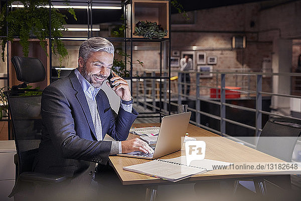 Mature businessman working in modern office  using laptop while talking on the phone