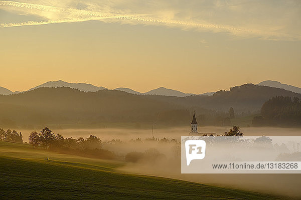 Germany  Pfaffenwinkel  view of landscape at morning mist