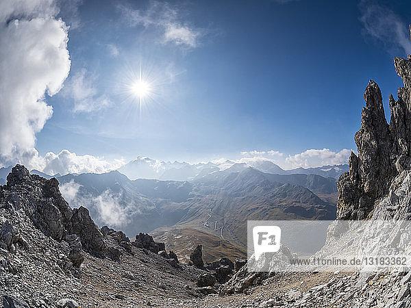 Border region Italy Switzerland  mountain landscape at Piz Umbrail