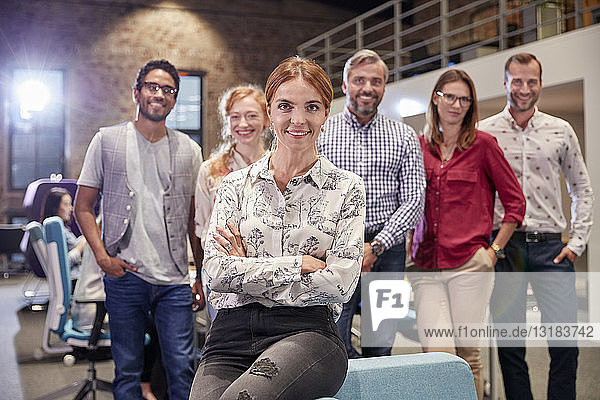 Group portrait of a team of colleagues working for a start up company