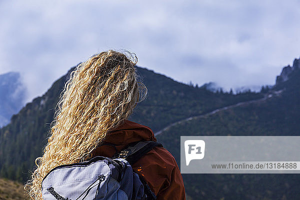Young woman hiking in the Bavarian mountains