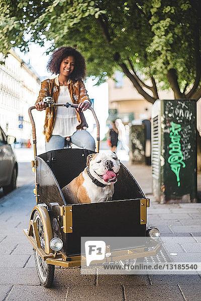 Lächelnde Frau fährt Fahrradwagen mit Bulldogge auf gepflasterter Straße