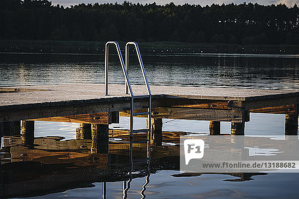 Dock with ladder over lake  Barnim  Mecklenburg-Vorpommern  Germany