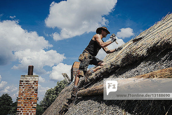 Man repairing thatch roof on sunny house