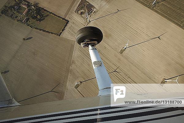 Aerial view from airplane of wind turbines in rural field  Brandenburg  Germany
