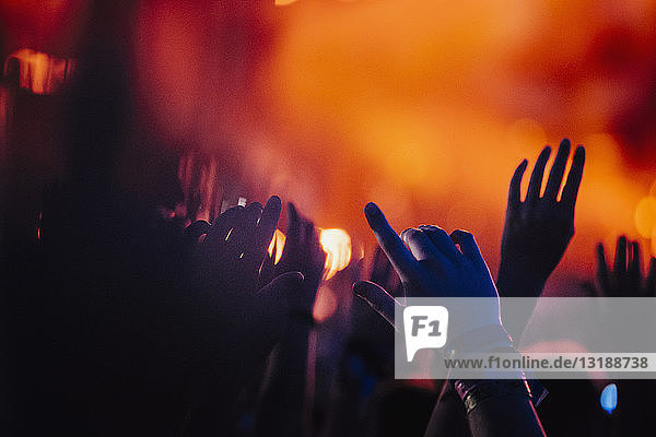 Hands raised  cheering in concert audience