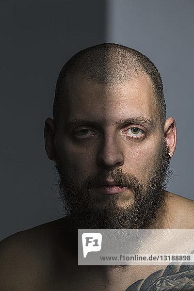 Portrait serious man with beard
