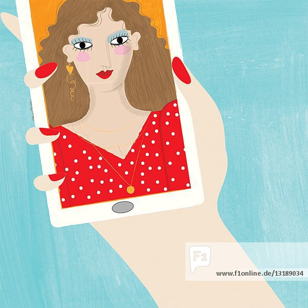 Woman Deleting Skeleton Selfie Animation