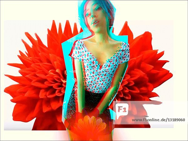 Abstract Woman against Red Flowers Background  Glitch Motion Effect