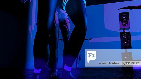 Futuristic People Dancing in Nightclub  CGI Effect