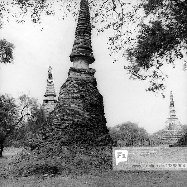Stupa ruins in Ayutthaya  Thailand