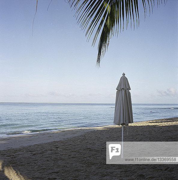 Regenschirme am tropischen Strand