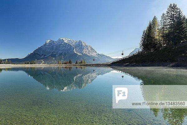 Wasserspeicher für die Beschneiung der Skipisten am Grubigstein mit Blick zur Zugspitze und Bergbahn  Lermoos  Tirol  Österreich  Europa