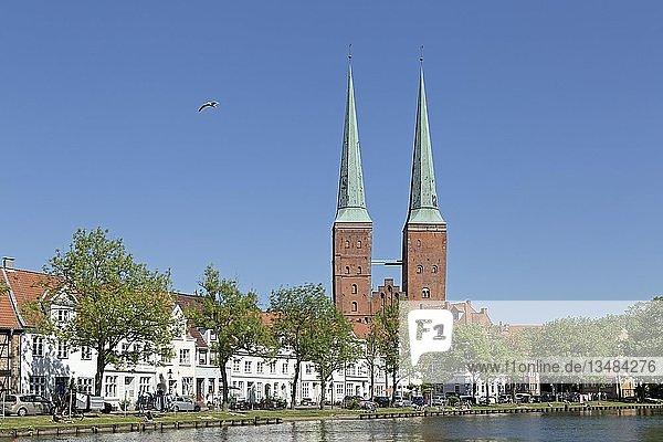 Lübecker Dom  Fluss Trave  Lübeck  Schleswig-Holstein  Deutschland  Europa