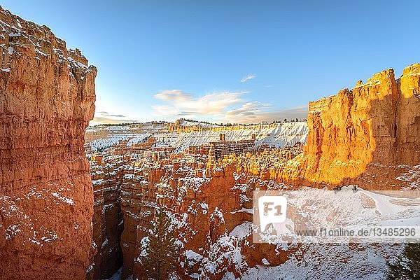 Amphitheater im Morgenlicht  verschneite bizarre Felslandschaft mit Hoodoos im Winter  Navajo Loop Trail  Bryce Canyon Nationalpark  Utah  USA  Nordamerika
