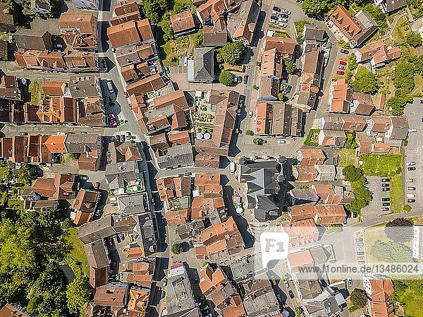 Drone image of charming little town creating architectural pattern  Schotten  Hesse  Germany  Europe