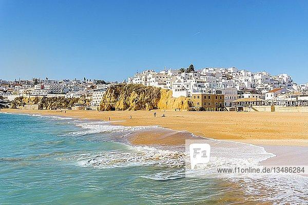 Wide sandy beach  townscape  Albufeira  Algarve  Portugal  Europe