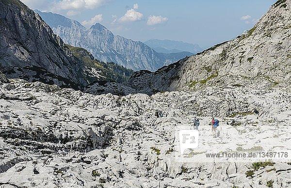 Wanderer überquert Felsen  Funtenseetauern  Steinernes Meer  Nationalpark Berchtesgaden  Berchtesgadenener Land  Oberbayern  Bayern  Deutschland  Europa