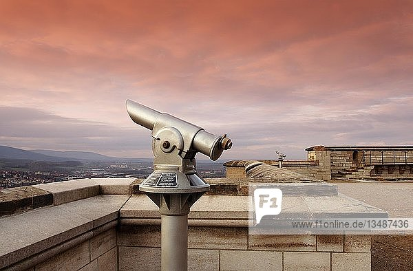 Telescope on a castle with view of the Harz Telescope on a castle with view of the Harz