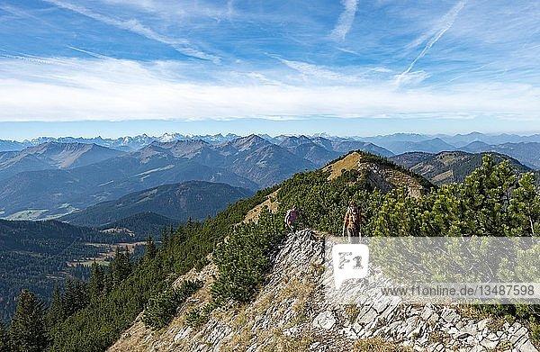Wanderer bei der Überschreitung der Blauberge  Überschreitung von Predigtstuhl über Blaubergschneid  Blaubergkopf und Karschneid bis Halserspitz  Wildbad Kreuth  Oberbayern  Bayern  Deutschland  Europa
