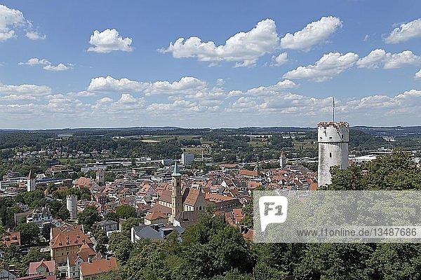 Stadtansicht mit Turm Mehlsack  Ravensburg  Baden-Württemberg  Deutschland  Europa