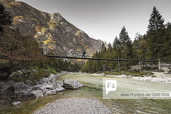 Bridge over Isonzio river in autumn mood in Triglav National Park  Tolmin  Slovenia  Europe