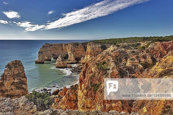 Strand und farbige Felsen  Praia da Marinha  Carvoeiro  Algarve  Portugal  Europa