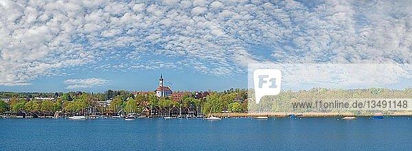 Ufer des Ammersees mit den Marienmünster und weißblauen Wolkenhimmel  Dießen  Ammersee  Bayern  Deutschland  Europa