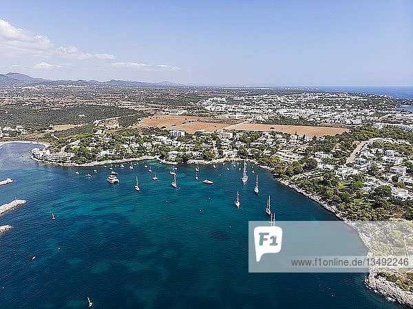 Luftaufnahme  Küste von Porto Petro  Region Cala d'Or  Mallorca  Balearen  Spanien  Europa