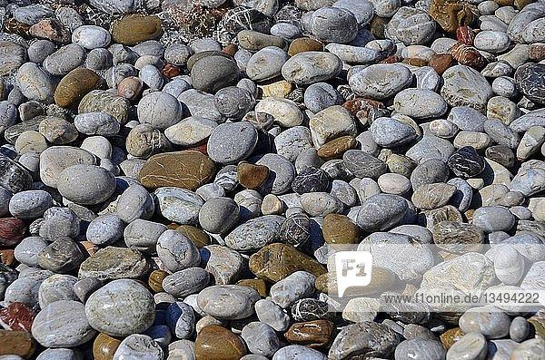 Kieselsteine am Strand  Hintergrundbild  Griechenland  Europa