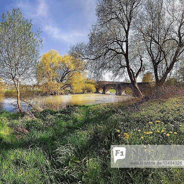 Alte römische Brücke mit langsam fließendem Fluss Altmühl bei Pfünz  Naturpark Altmühltal  Bayern  Deutschland  Europa