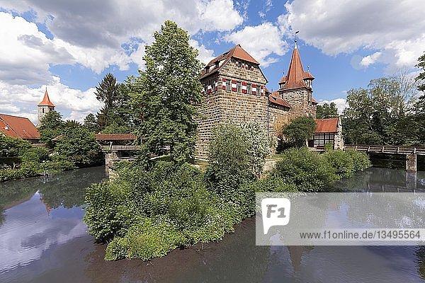 Wenzelschloss  Fluss Pegnitz  Lauf an der Pegnitz  Mittelfranken  Franken  Bayern  Deutschland  Europa