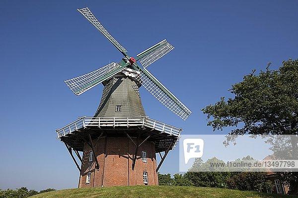 Galerieholländer  Windmühle  Greetsiel  Krummhörn  Ostfriesland  Niedersachsen  Deutschland  Europa