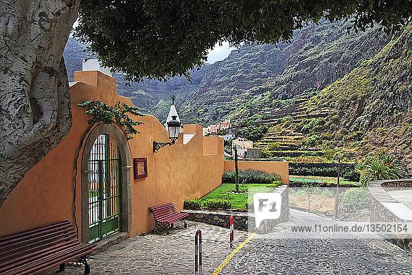 The small pristine coastal village of Agulo  La Gomera  Canary Islands  Spain  Europe