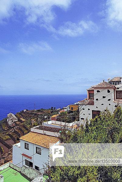 Kleines ursprüngliches Küstendorf Agulo  La Gomera  Kanarische Insel  Spanien  Europa