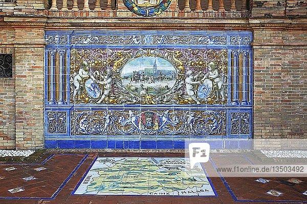 Mosaikbild aus Azulejo-Fliesen  Plaza de España  Sevilla  Andalusien  Spanien  Europa