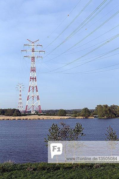 Hochspannungsleitung Elbekreuzung über die Elbe  bei Hollern-Twielenfleth  Lühe  Altes Land  Niedersachsen  Deutschland  Europa