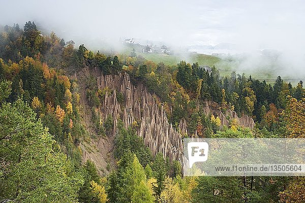 Erdpyramiden in Lengmoos am Ritten im Herbst  Bozen  Südtirol  Italien  Europa