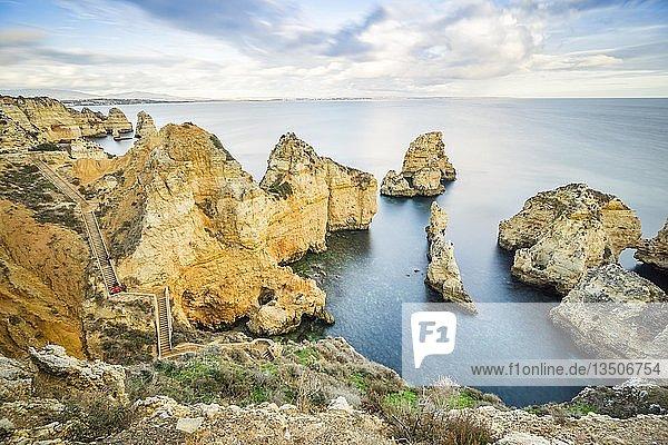 Walkway in the cliffs in Ponta da Piedade  Lagos  Algarve  Portugal  Europe