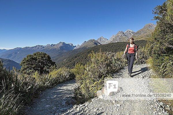 Wandererin am Key Summit Trail  Bergkette des Fiordland Nationalparks  Southland  Neuseeland  Ozeanien
