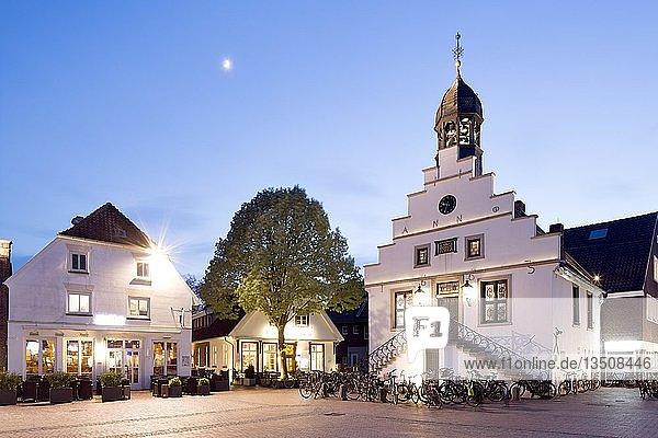 Lingener Rathaus am Markt  Abenddämmerung  Lingen  Emsland  Niedersachsen  Deutschland  Europa