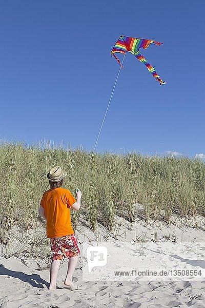 Junge spielt am Strand mit einem Drachen  Wustrow  Fischland  Mecklenburg-Vorpommern  Deutschland  Europa